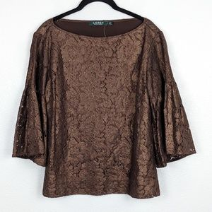 Lauren Ralph Lauren Metallic Bell Sleeve Blouse